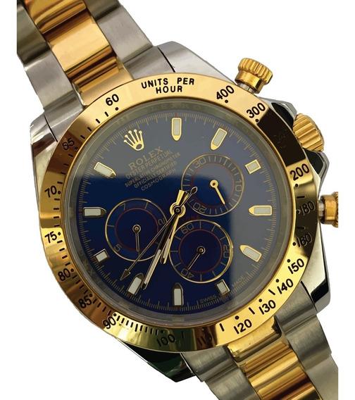 Reloj Rolex Daytona Bi Tono Cara Azul Automático Zafiro
