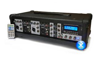 Consola Mixer Potenciada 4 Canales Con Bluetooth Usb Control Remoto 150w Rms Amplificador