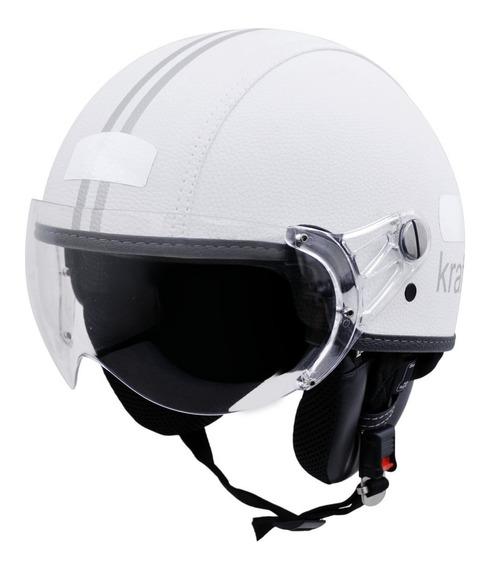 Capacete Kraft Plus Revestido Couro Branco G 58 - Harley