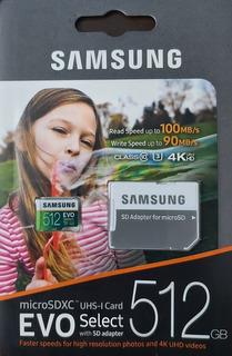 Cartao Microsd Sdxc Samsung Evo Select 512gb U3 100mb/s