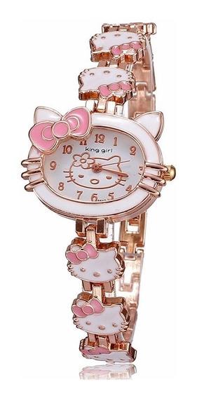 Relógio De Pulso Hello Kitty Cristal Moda