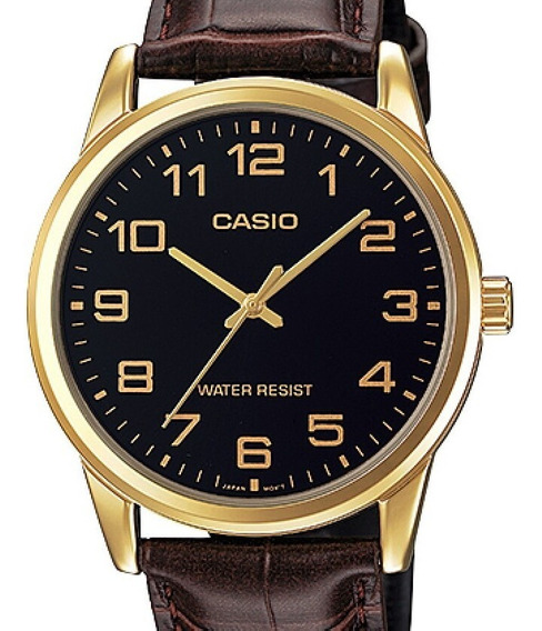 Relogio Casio Masculino Collection Couro Mtp-v001gl-1budf