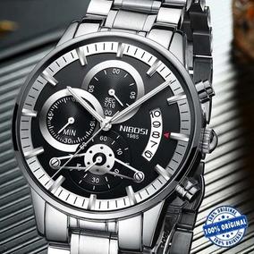 Relógio Nibosi Masculino Prata De Luxo Original