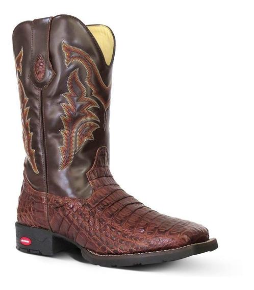 Bota Country Texana Exótica Couro Jacaré E Mustang Masculina