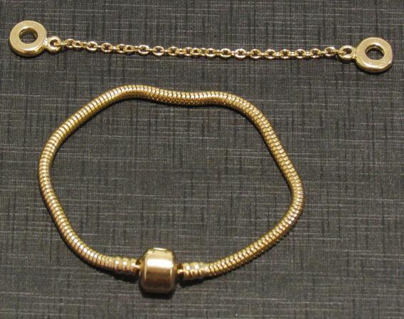 Pulseira Pandora Dourada Folheada Ouro Protetor P/ Berloques