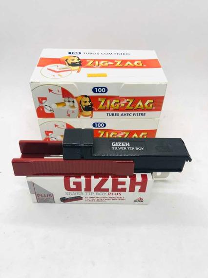 Combo Máquina Gizeh Para Entubar 200 Tubos Zigzag