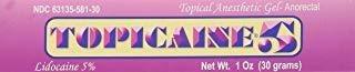 Topicaine 5 - Net Wt. 1 Oz (30 Grams) Lidocaine Anesthetic A