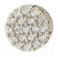 Ouro Branco 18k E Diamantes De 1 Ponto