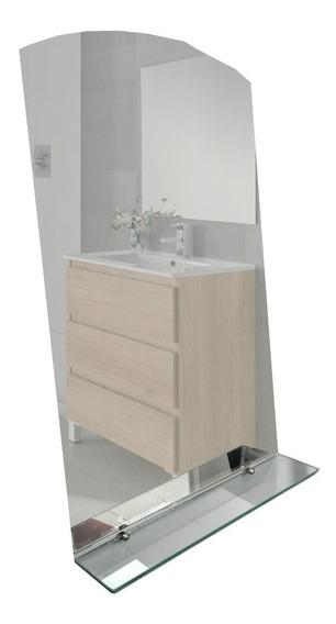 Espejo Baño Terminacion Curva Sin Marco 50x70 3mm + Estante De 6mm + Soportes