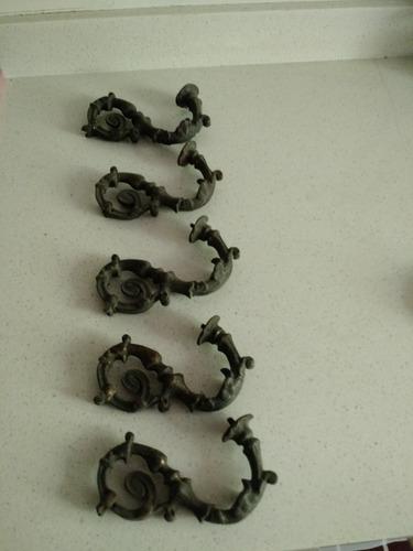 Imagen 1 de 1 de 5 Piezas Bronce Maciza Antigua  12 X 6  Cms