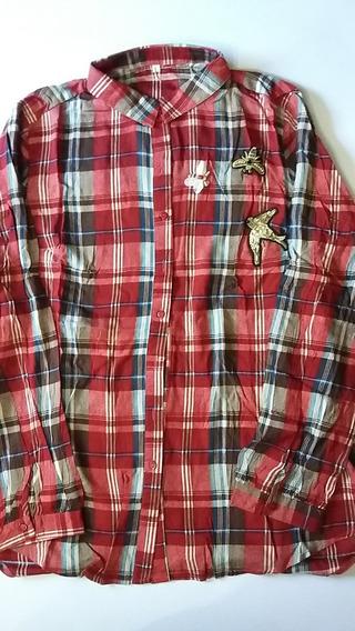 Camisa Escocesa Con Aplique Talle L Color Rojo