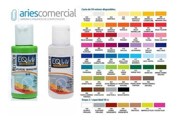 Paleta Completa Acrilicos Pintura Eqarte De 50cc 59 Colores