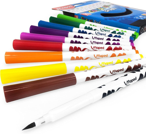 Imagen 1 de 7 de Marcadores Maped Colorpeps Brush Punta Pincel X 10 Unidades