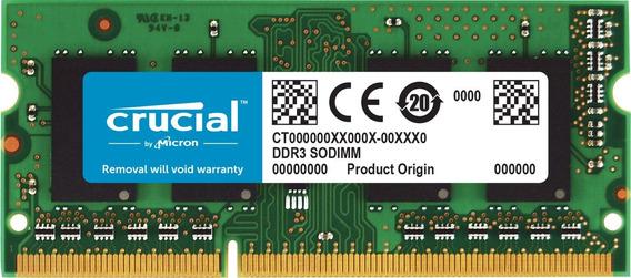 Memoria Ram 8gb Crucial Single Ddr3/ddr3l 1600 Mt/s (pc3-12800) Unbuffered Sodimm 204-pin - Ct102464bf160b