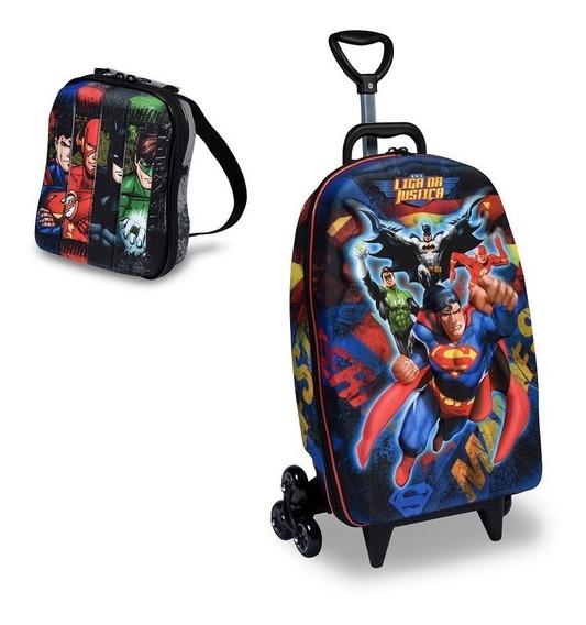 Mochila Escolar 3d Rodinhas Maxtoy Liga Da Justiça Superman