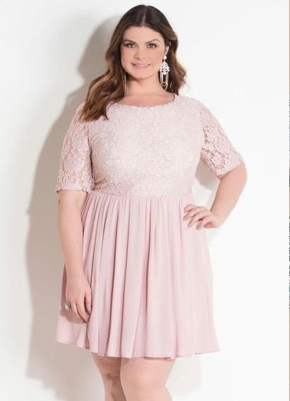 Vestido Quintess Rosa Soltinho Com Renda
