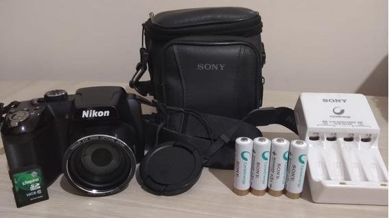 Camera Nikon Coolpix L315 + 4 Pilhas Rec. Sony + Cartão 16gb