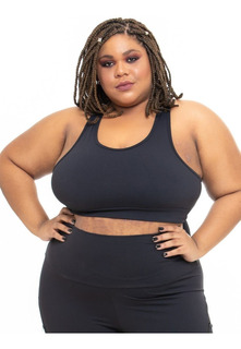 Top Plus Size Wonder Size Básico Casual Poliamida Preto