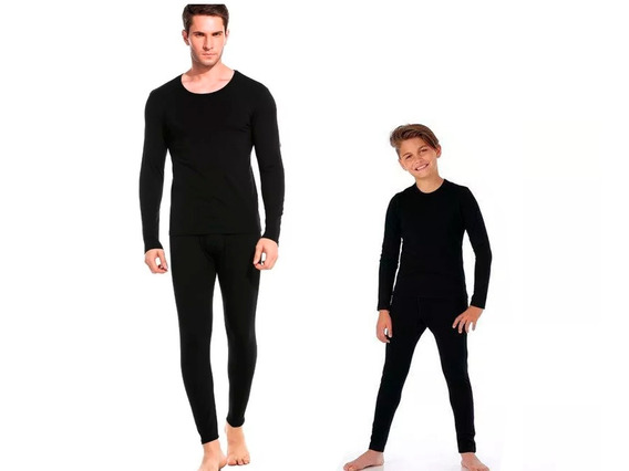 Conjunto Roupa Térmica Kit Pai/filho 2 Blusas + 2 Calças Frio E Neve Segunda Pele Promoção