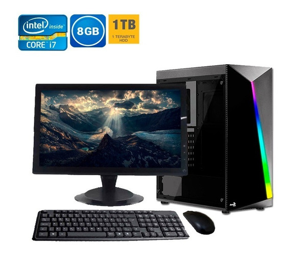 Computador Pc Completo Intel I7 8gb Hd 1tb + Wi-fi