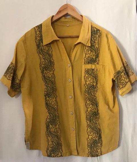 Camisa Calbini Color Mostaza Talle L Tejidos Naturales