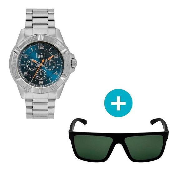 Relógio Dumont Masculino Analógico, Caixa 4,8cm, Prata, Puls