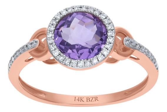 Anillo Bizzarro De Oro Rosa 14k Con 11pts De Diamante (g-h)