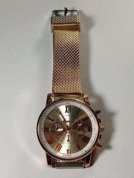 Relógio Feminino Dourado Com Fundo Prata Pulseira Silicone