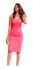Vestido Midi Justo Festa Feminino Tipo Tubinho Promoção 3215