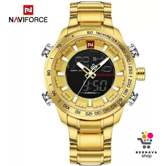 Relógio Masculino Prata E Dourado Barato Pesado Aço Naviforce