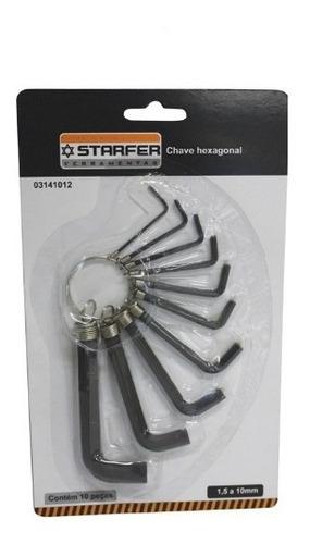 Imagem 1 de 1 de Chave Allen Hexagonal 1,5mm A 10mm Starfer - Kit C/10 Peças