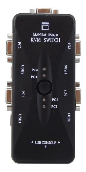 Chaveador Kvm Usb 4 Portas P/ Ligar Pcs A 1 Monitor Barato