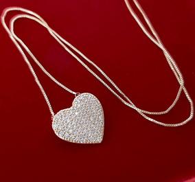 Colar Feminino Coração Brilhante Namorado Banhado Ouro 18k