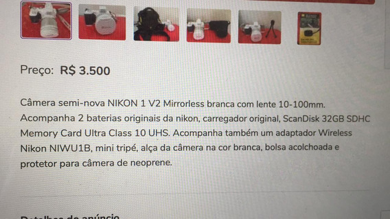 Camera Semi Nova Nikkon 1 V2 Mirrorless Branca