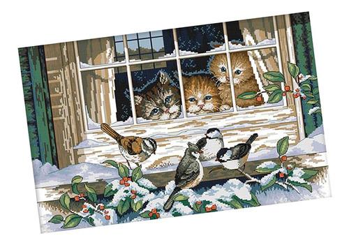 Imagen 1 de 6 de Kit De Punto De Cruz Con Estampado De Gatos Y Pájaros Para