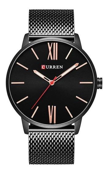 Relógio Preto Aço Inox Curren 8238 Original Com Nota Fiscal