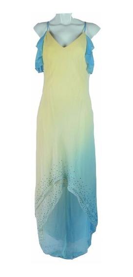 Missteen Vestido Amarillo Y Azul Claro L Msrp $1,359