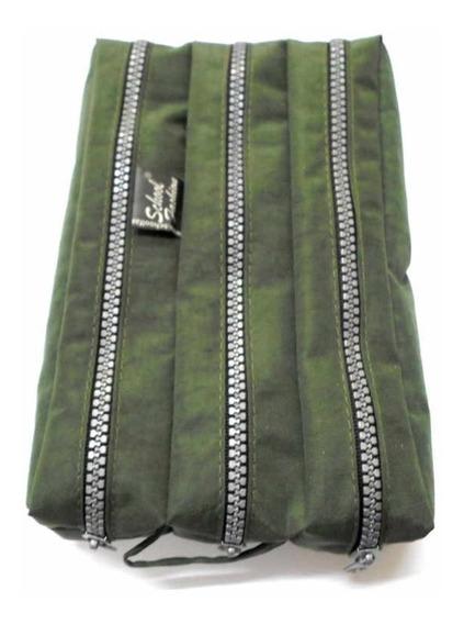 Estojo 3 Divisórias Tactel School Fashion - Verde