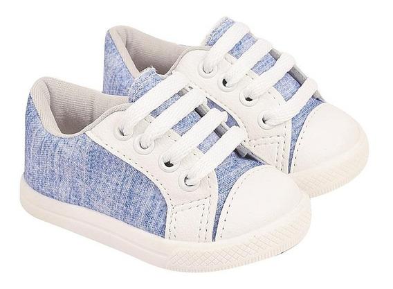 Tênis Soft Para Babê Menino Em Tecido Jeans Com Cadarço