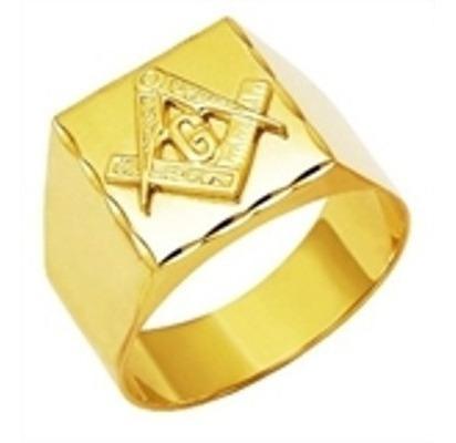 Anel Ouro 18k G Triangulo Maçonaria Maçon Mestre Aprendiz
