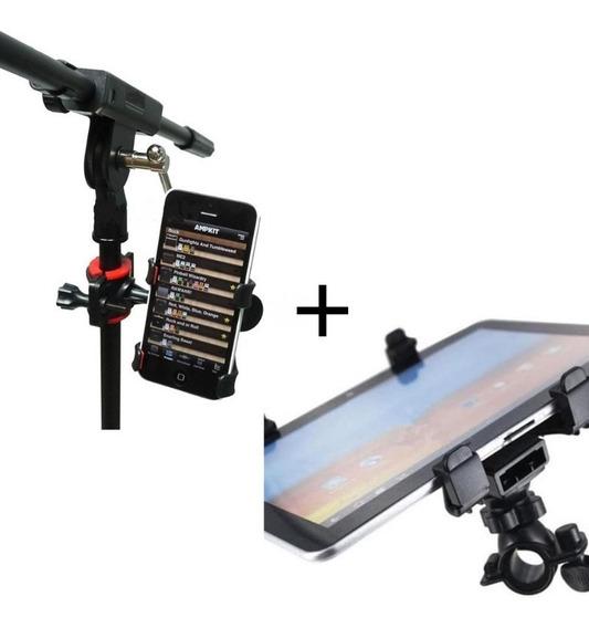 Suporte Tablet/iPad+suporte Celular P Pedestal De Microfone