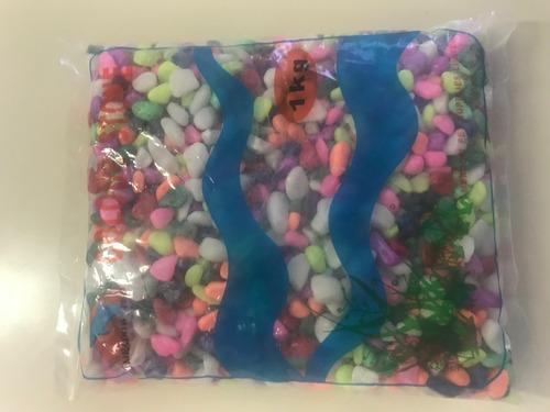 Piedra Fantasia Para Pecera De Colores 1 Kgs