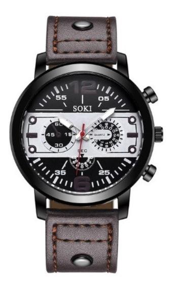 Relógio Masculino Soki Grande Pulseira Couro