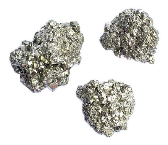 Kit 3 Mini Pirita Bruta Pedra Cristal Natural Prosperidade