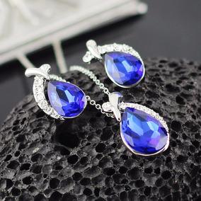 Conjunto Feminino Colar + Brinco Cristal Austríaco Azul