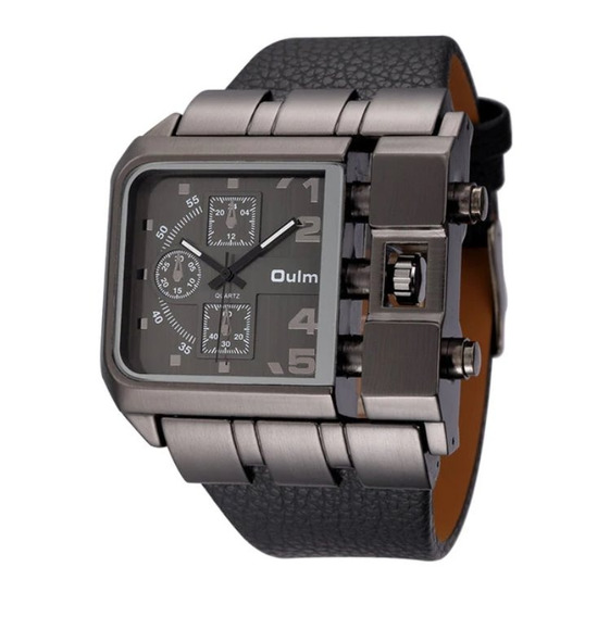 Relógio De Pulso Masculino Aço Inoxidável Preto Social Oulm