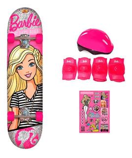 Skate Da Barbie + Acessórios De Segurança E Adesivos Glitter