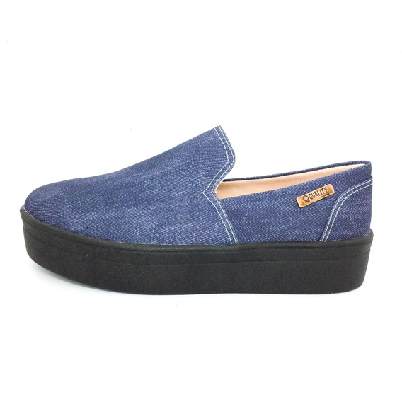 Tênis Flatform Quality Shoes Feminino 003 Jeans Floral 797