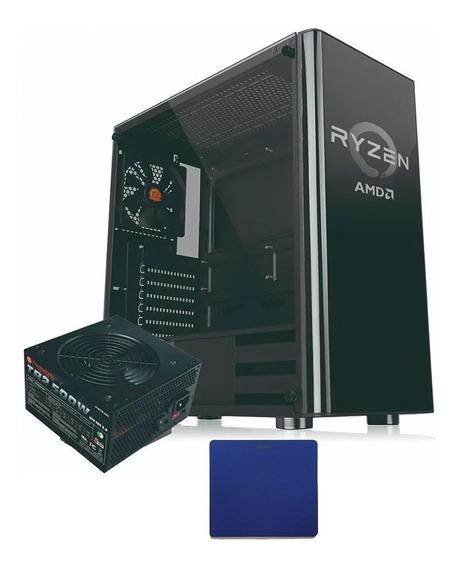 Gabinete Gamer Noganet Atx Vidrio 3 Coolers + Pad + Fuente
