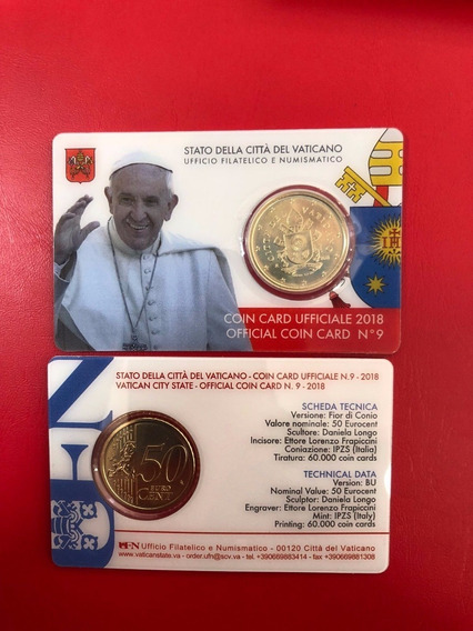 Vaticano 2018 Coin Card Oficial Papa Francisco 50 Centimos
